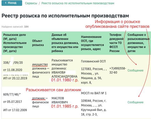 База розыска на сайте ФССП