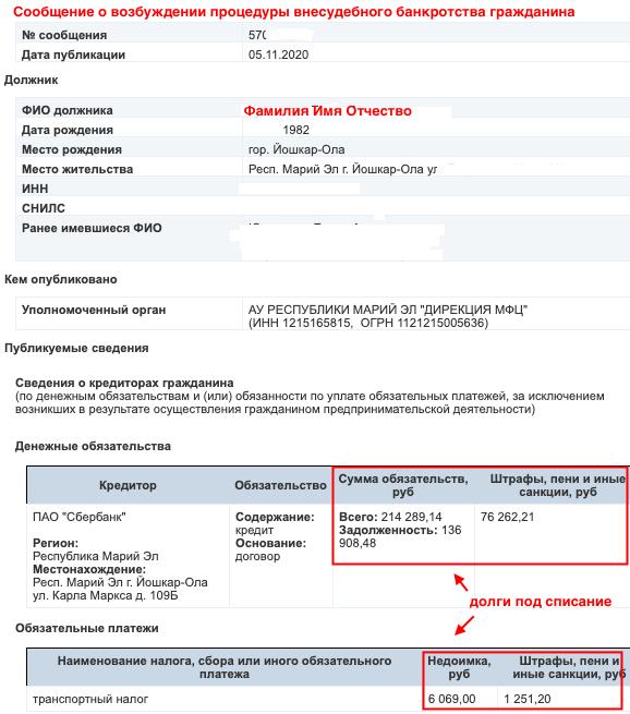 Сообщение о внесудебном банкротстве на ЕФРСБ