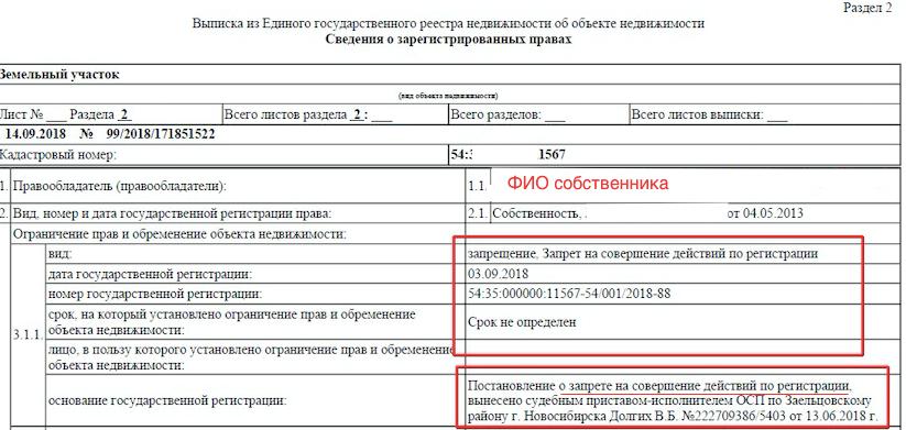 Запись об аресте в выписке ЕГРН